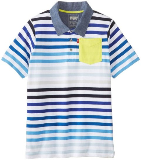 Levis Boys Striped Short Sleeve Polo - White Blue.1