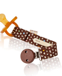 Hevea Organic Cotton Pacifier and Teether Holder (Brown)