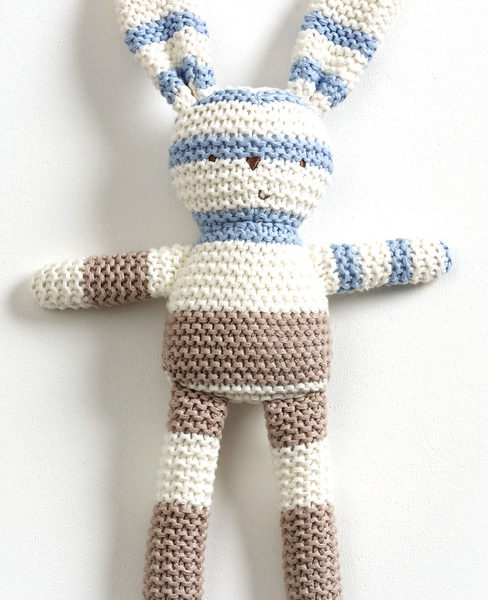 Natures Purest – Natures Knits Striped Knitted Bunny (Blue Stripe)