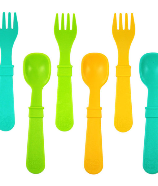 Re-Play Utensils (Fork & Spoon) 8 Pack – Assorted Colors (Aqua, Green & Sunny Yellow)
