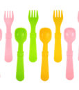 Re-Play Utensils (Fork & Spoon) 8 Pack – Assorted Colors (Baby Pink, Green & Sunny Yellow)