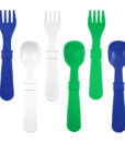 Re-Play Utensils (Fork & Spoon) 8 Pack – Assorted Colors (Navy Blue, Kelly Green & White)