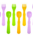 Re-Play Utensils (Fork & Spoon) 8 Pack – Assorted Colors (Purple, Green & Sunny Yellow)