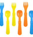 Re-Play Utensils (Fork & Spoon) 8 Pack – Assorted Colors (Sky Blue, Orange & Yellow)