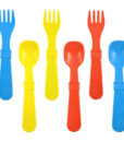 Re-Play Utensils (Fork & Spoon) 8 Pack – Assorted Colors (Sky Blue, Red & Yellow)