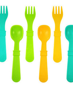 Re-Play Utensils (Fork & Spoon) 8 Pack - Assorted Colors