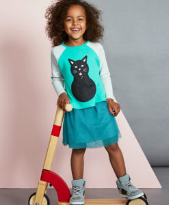 Baobab Cat Print Girls Long Sleeve Tee
