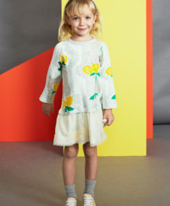 Baobab Yellow Flower Print Tulle Dress