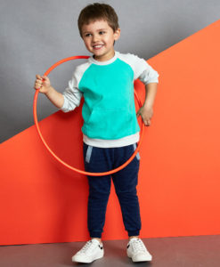 Baobab - Green Grey Raglan Boys Long Sleeve Top